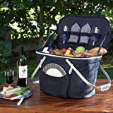 Picnic at Ascot Collapsible Insulated Picnic Basket Equipped with Service For 2 - Navy
