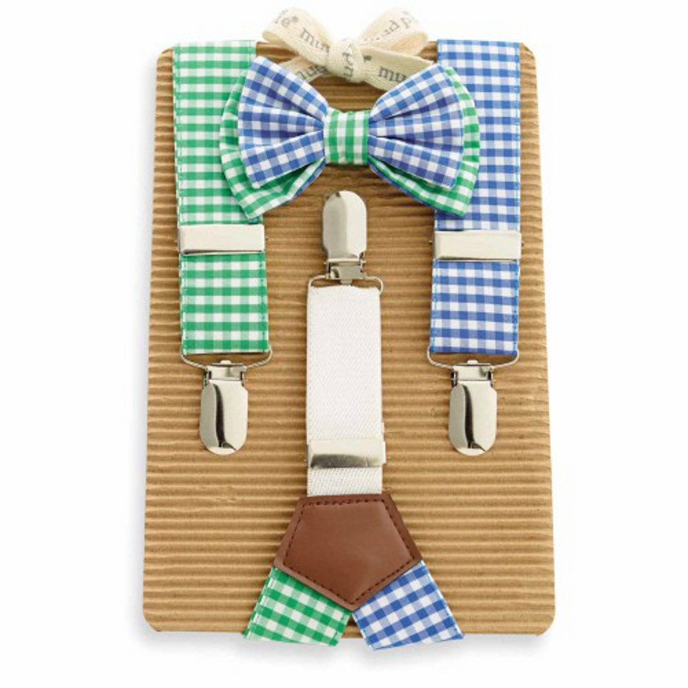 Mud Pie Boy's Gingham Bow Tie and Suspender Set - special occasion