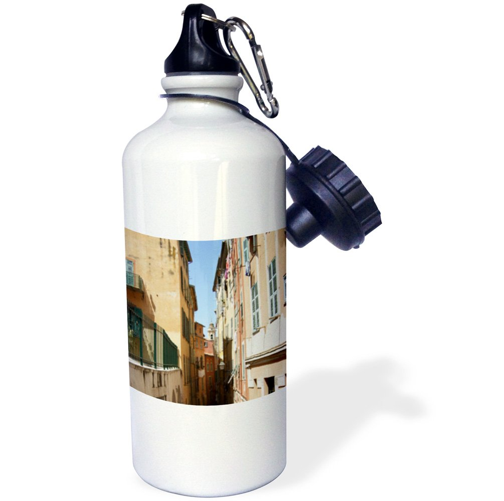 3dRose wb_162574_1''Narrow street in Nice South France-yellow and orange houses with shuttered windows shutters photo'' Sports Water Bottle, 21 oz, White