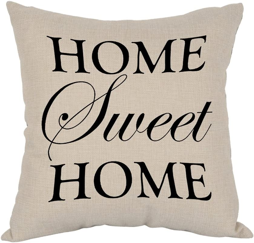 Moslion Home Sweet Home Pillow,Home Decor Throw Pillow Cover Cotton Linen Cushion for Couch/Sofa/Bedroom/Livingroom/Kitchen/Car 18 x 18 inch Square Pillow case
