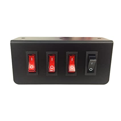 abrams taurus premium 12v switch box panel - (3) on/off rocker switch with  led light & (1) momentary switch plate - 2 x 15 amp inline fuse -  dimensions: