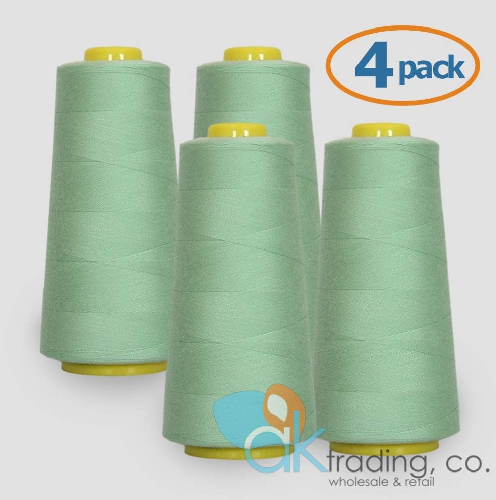 of Polyester thread for Sewing 6000 yards each Quilting AK TRADING 4-Pack WHITE Serger Cone Thread Serger