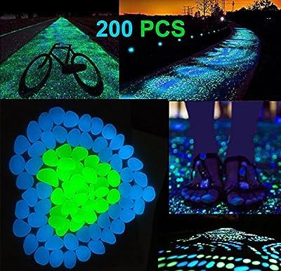 AUSAYE Glow in the Dark Pebbles Outdoor Glow Rocks Stones for Fairy Garden, Walkways, Driveway, Path, Fish Tank Aquarium DIY Decorations Gravel