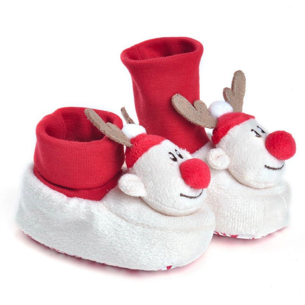 Sunward Unisex Baby Christmas 3D Cartoon Soft Sole Anti Slip Prewalker Shoes Snow Boots Socks