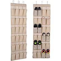 Hanging Shoe Rack Closet Organize - Over the Door Shoe Organizer with 24 Reinforced Pocket and 3 Customized Strong Metal Hooks - Non-woven Door Organizer for Laundry Room, Kitchen, Bathroom Organizer