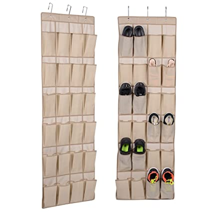 Ordinaire Hanging Shoe Rack Closet Organize   Over The Door Shoe Organizer With 24  Reinforced Pocket And