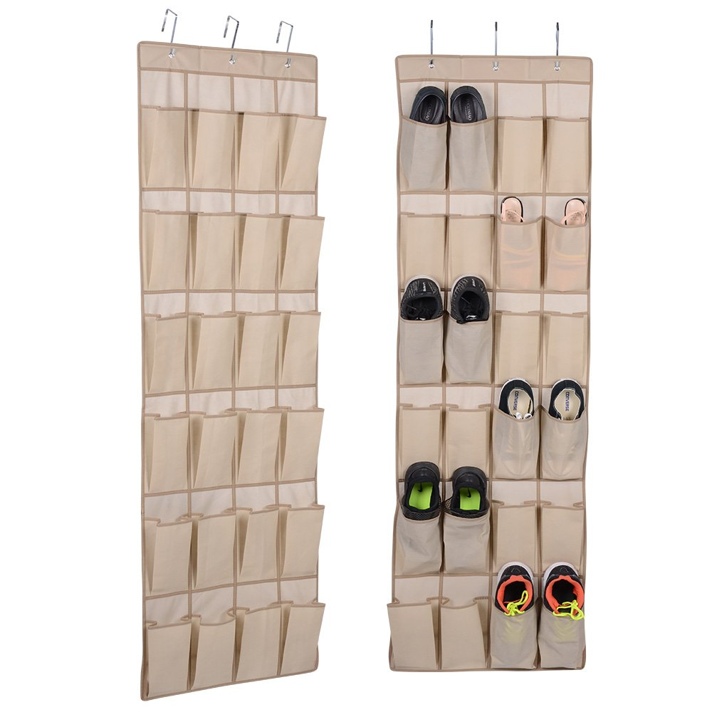 Hanging Shoe Rack Closet Organize   Over The Door Shoe Organizer With 24  Reinforced Pocket And 3 ...
