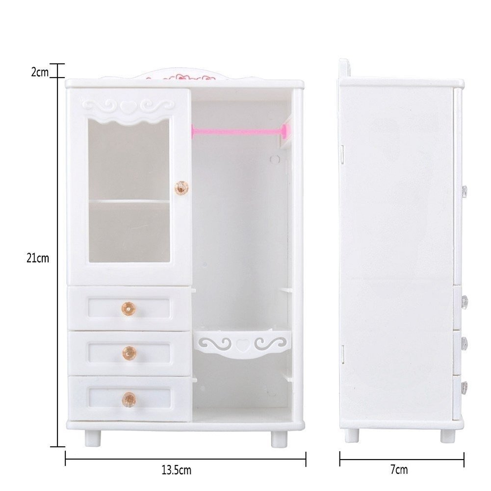 Wardrobe + 10pcs Hangers Qiyun Furniture Toy Plastic Furniture Accessories for Dollhouse Decoration