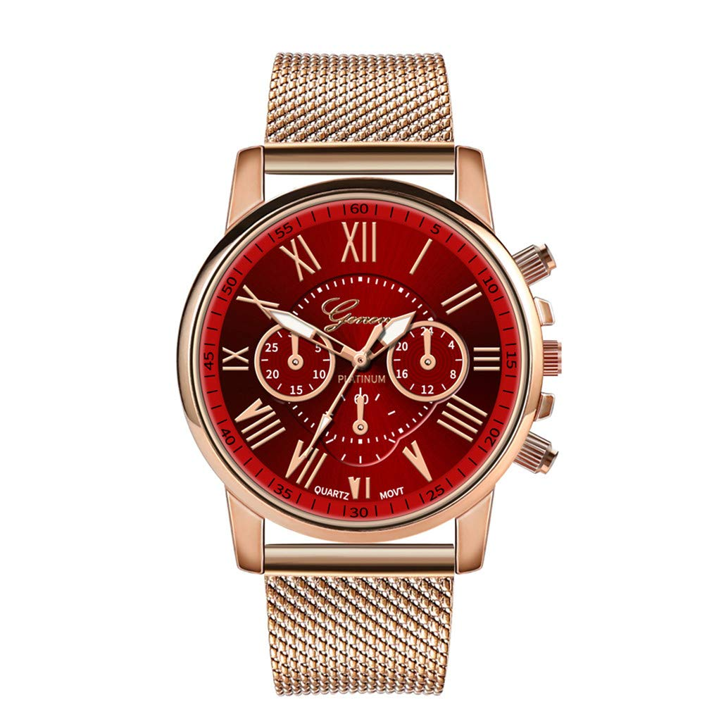 Pocciol Fashion Military Stainless Steel Quartz Watch Womens Casual Watch Luxury Analog Wristwatch (Red)