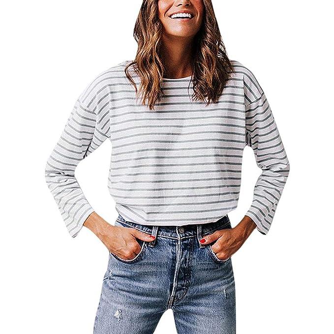 Longra❤ ❤ Volver Cardigan Button Design Stripe Print T-Shirt Mujer Tops: Amazon.es: Ropa y accesorios