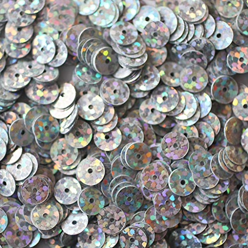 Craft Sequins Selection - 6mm Flat Sequin Paillettes - Silver Laser Hologram Multi Metallic - Trim, Embellish, and add Sparkle to Anything You Desire.
