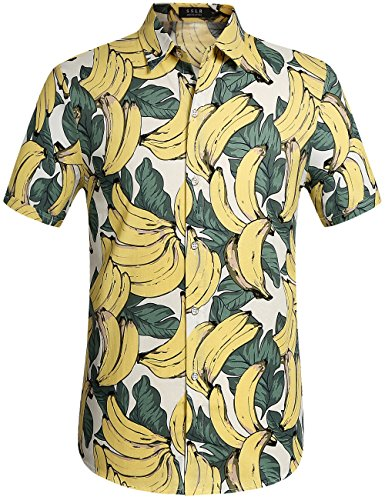 SSLR Men's Cotton Button Down Short Sleeve Hawaiian Shirt (Small, White -