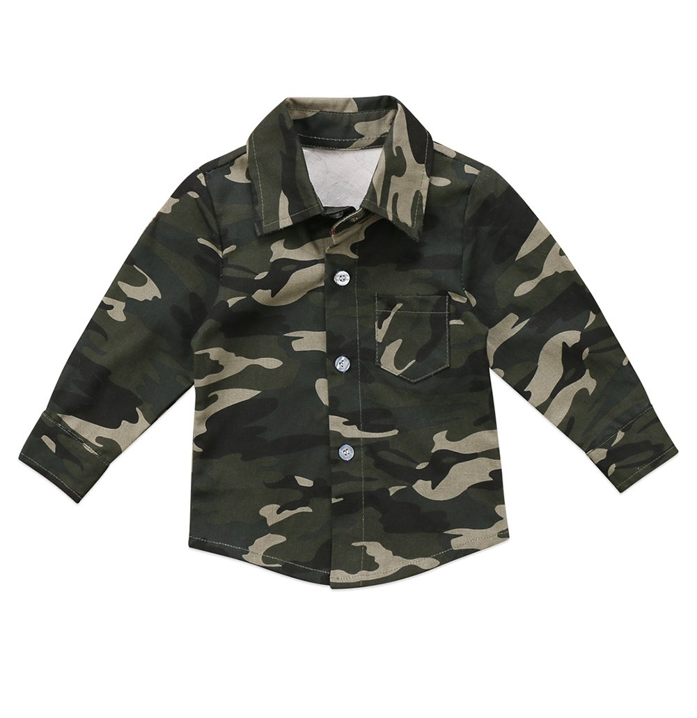 Toddler Baby Boys Girls Shirt Tops Long Sleeve Button Down with Camo Print
