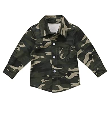 74d99d3a6 XARAZA Toddler Baby Boys Girls Shirt Tops Long Sleeve Button Down Shirt  Jacket (Camo,