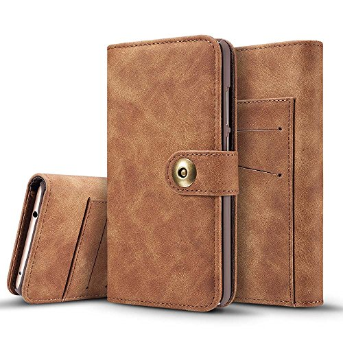 Price comparison product image Mate 9 Case,  Dfly [2 in 1] [Detachable Wallet Folio] [Retro Premium PU Leather of Outer and Open Hair Real Leather of Inner] Case for Huawei Mate 9 (2016),  Dark Brown
