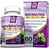 BRI Resveratrol - 1200mg Maximum Strength Natural Antioxidant Supplement for Longevity; Premium, Ultra Pure Veggie Caps Promote Healthy Heart and Brain Function and Immune System Health (60 Capsules)
