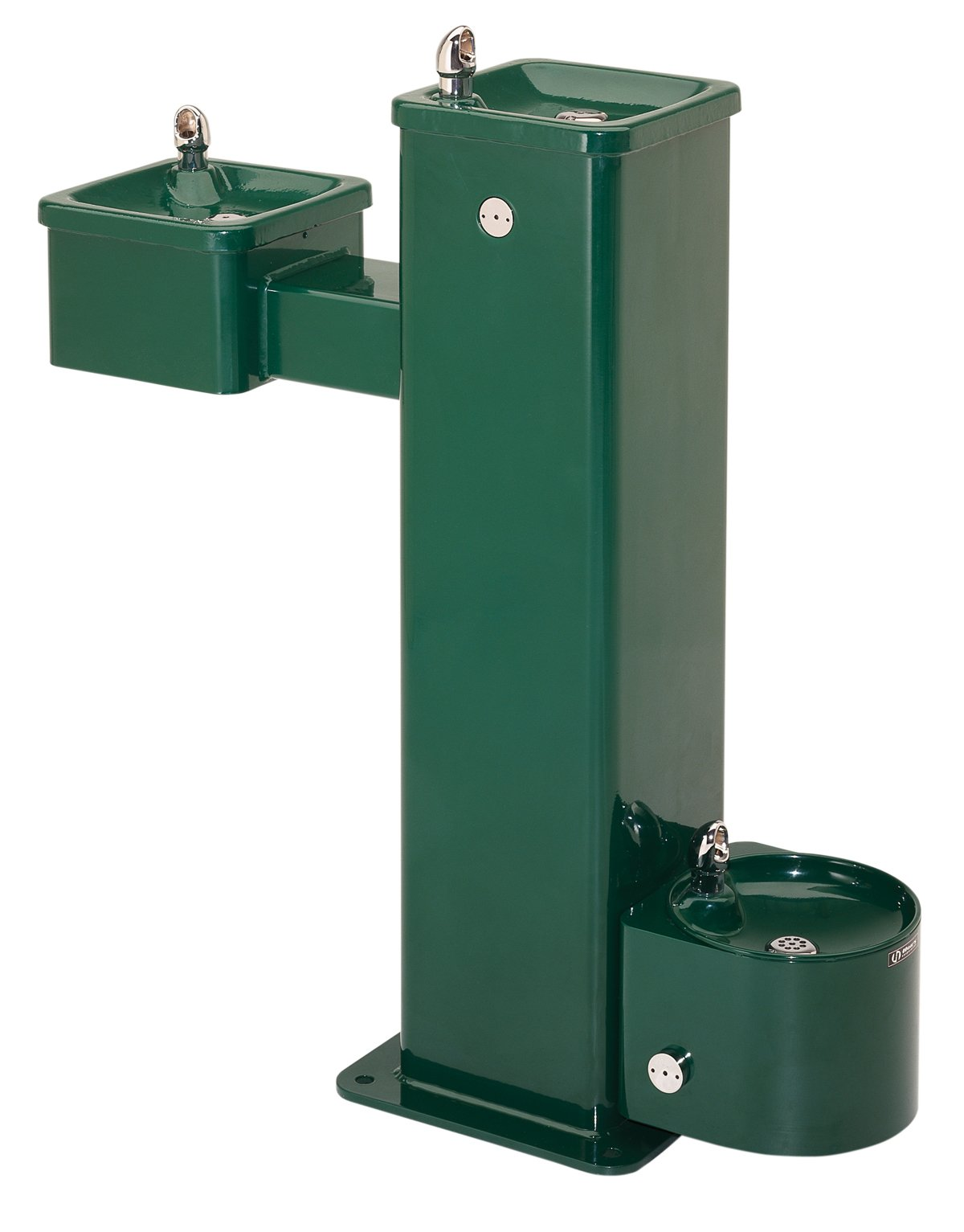 Haws 3500D ''Hi-Lo'' Barrier-Free Vandal-Resistant Stainless Steel Pedestal Drinking Fountain with Pet Fountain and Green Powder-Coated Finish
