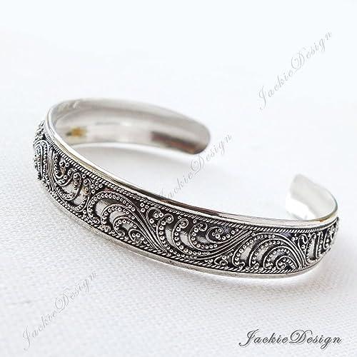 28ce2ad21db Amazon.com  10mm Bali Ornate Wave Pattern Handmade Sterling Silver Bangle  Cuff Bracelet JD94  Handmade