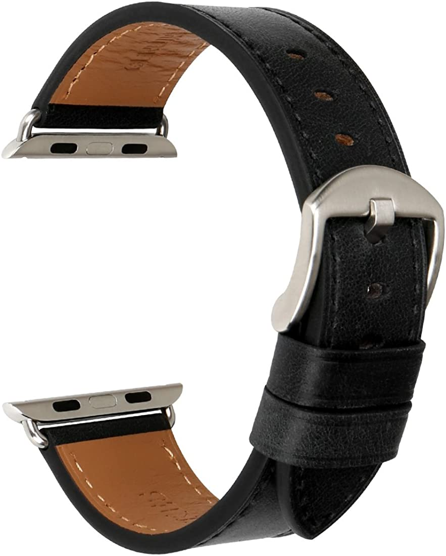 MAIKES Compatible with Apple Watch Band 44mm 40mm 42mm 38mm, Genuine Leather Watch Strap Replacement for Apple Watch Series 6/5/4/3/2/1 iWatch SE