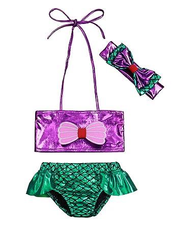 b5b6770197515 3PCS Toddler Infant Baby Girls Bowknot Mermaid Two-Pieces Bikini Set  Bathing Suit with Headband