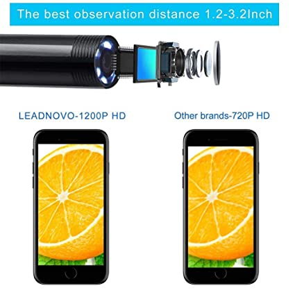 Endoscopio inalámbrico Borescopio impermeable Cámara de inspección digital Wifi 1200P HD IP68 Tube Snake Camera con 8 luces LED para Iphone IOS Ipad, ...