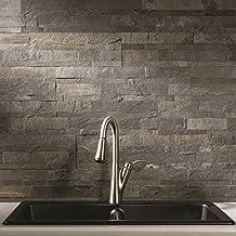 Aspect Peel and Stick Stone Overlay Kitchen Backsplash - (approx. 15 sq ft Kit) - Easy DIY Tile Backsplash (Iron Slate)