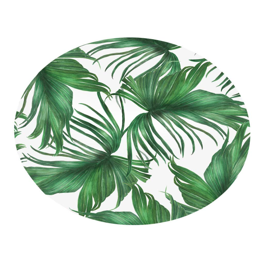 Frog Fun .Choice | Tropical Plant leaves Pattern Round Flannel Bathroom Kitchen Carpet 80cm (MulticolorA) by Frog Fun - Creative Home Kitchen Supplies