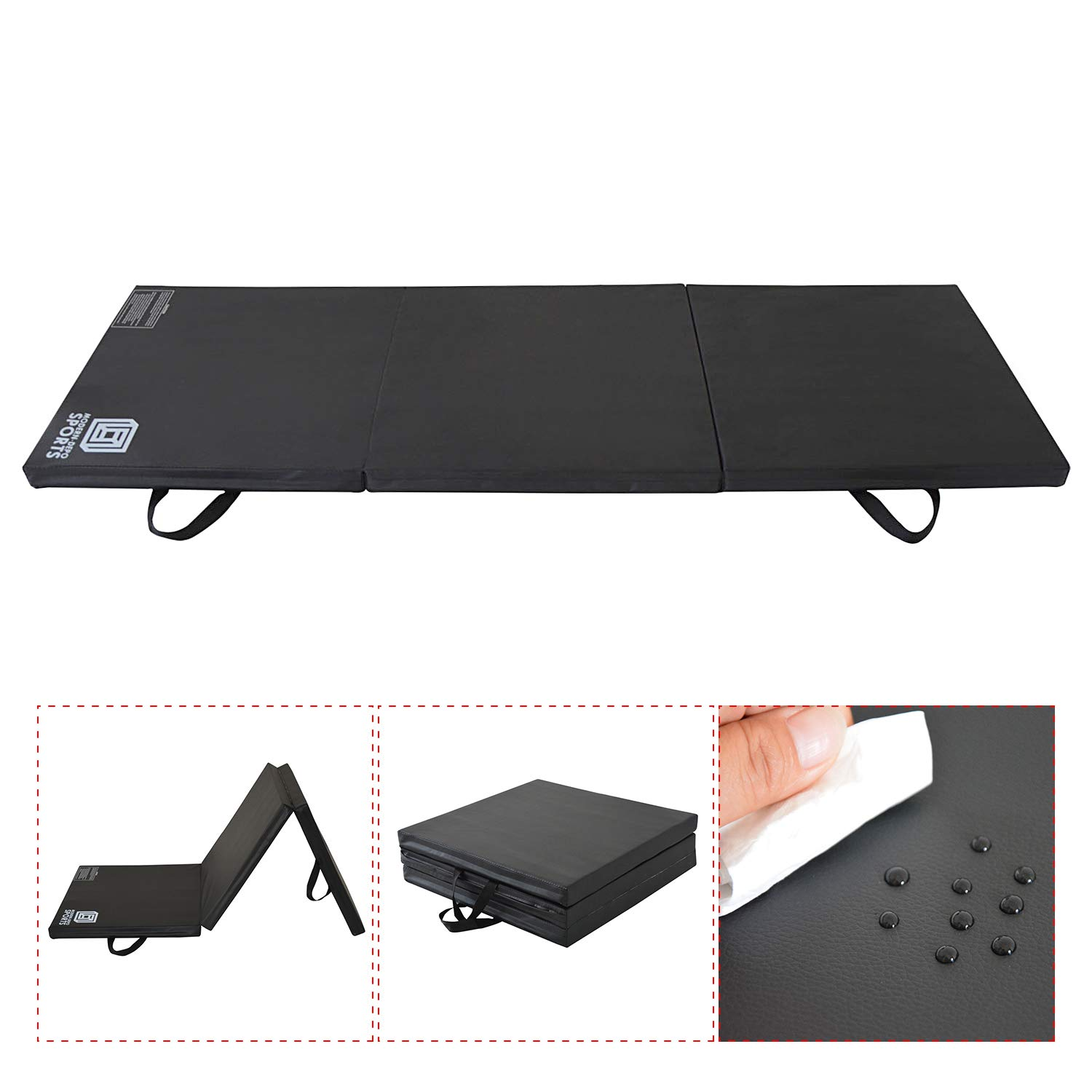 Modern-Depo Gymnastics Mat Tri-Fold 6'X2'X2 Thick with Handle, Waterproof Cover, 100% EPE Core (Black)