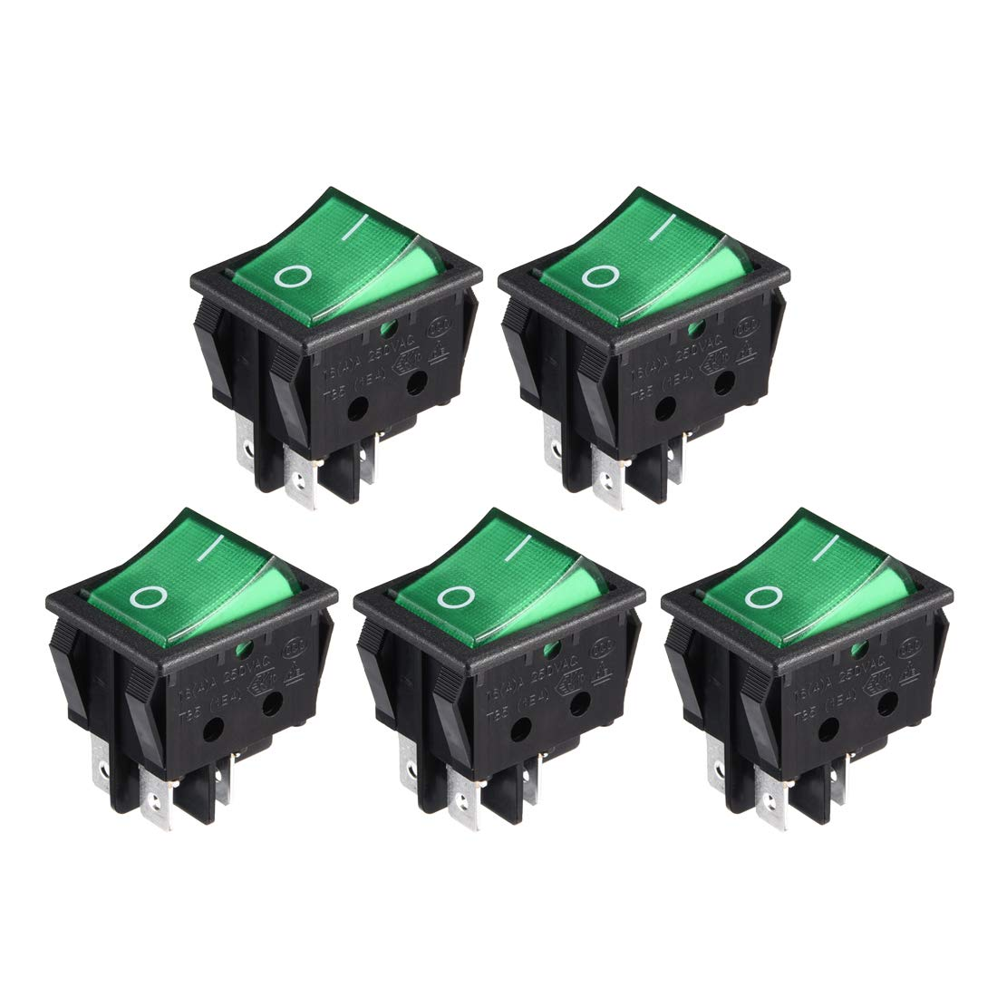 uxcell 5Pcs AC 20A/125V 22A/250V DPST 4 Terminal Boat Rocker Switches On/Off with Backlit Green Light