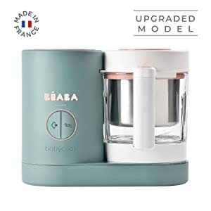 BEABA Babycook Neo, Glass 4 in 1 Steam Cooker & Blender, Comes with Stainless Steel Basket and Reservoir, 5.5 Cup Capacity (Eucalyptus)