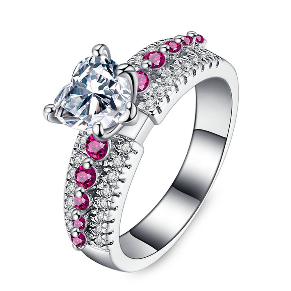 F/&F Jewelry Romantic Heart Red Zircon Silver Color Ring Jewelry for Women Wedding Engagement Rings