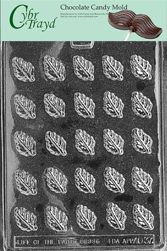 (Cybrtrayd Life of the Party AO037 Spearmint Leaves Chocolate Candy Mold in Sealed Protective Poly Bag Imprinted with Copyrighted Cybrtrayd Molding)