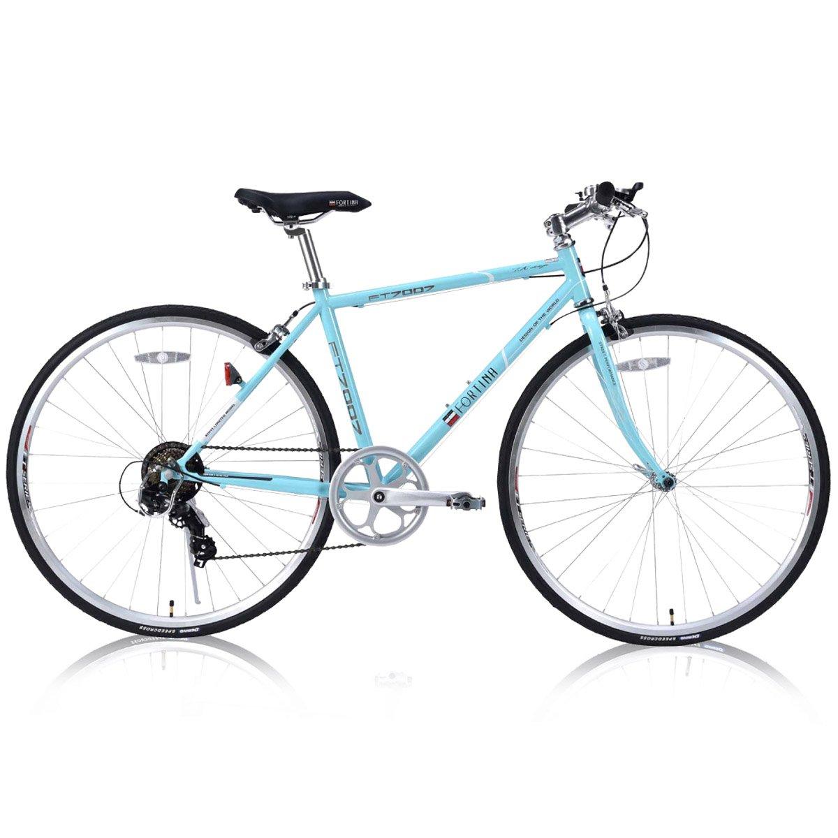 FORTINA(フォルティナ) FT-7007 クロスバイク700C シマノ製7段変速付(サムシフター) 軽量設計 クイックレリーズ 高さ調整可能Aヘッドスタイルステム B07D52HLLC スタイリッシュミント スタイリッシュミント