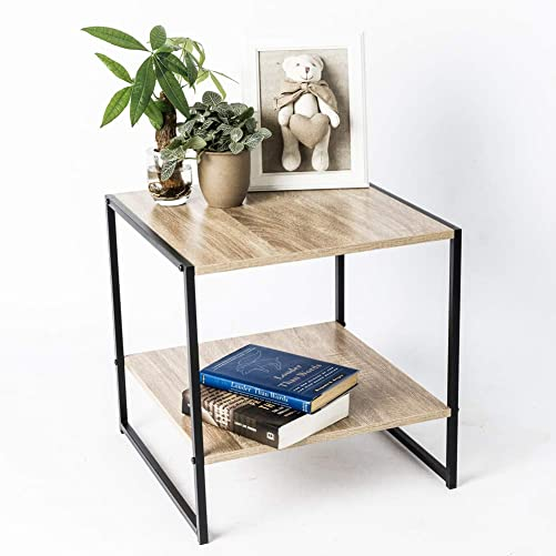 C-Hopetree Small Square Side Table with Low Shelf for Living Room – Metal Frame