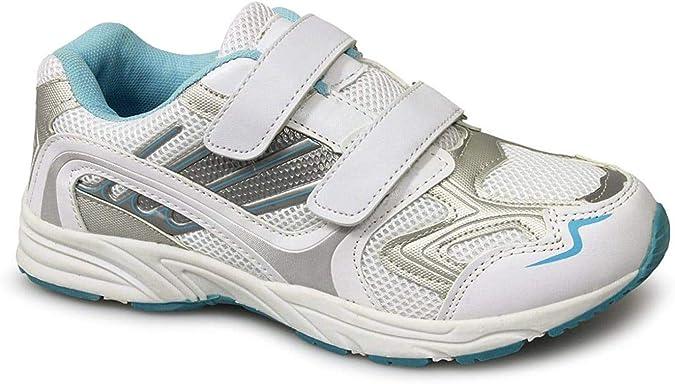Dek Luna Velcro Blanco Azul Suave Camiseta Zapatillas Running: Amazon.es: Zapatos y complementos