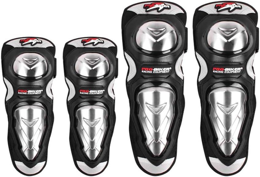 Baronhong 4 Stücke Motorrad Radfahren Verbesserte Stahl Ellenbogen Knie Pad Shin Körper Rüstung Schwarz M Auto