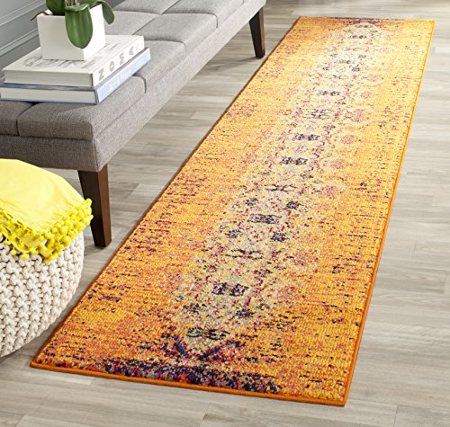 Safavieh Monaco Collection MNC209H Modern Abstract Vibrant Orange and Multi Distressed Runner Rug (2'2