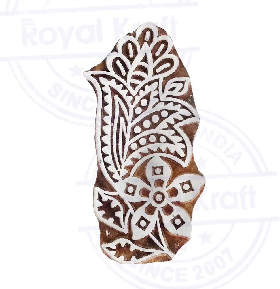 DIY Henna Fabric Textile Paper Clay Pottery Block Printing Stamp Original Exquisite Paisley Shape Wooden Block for Printing