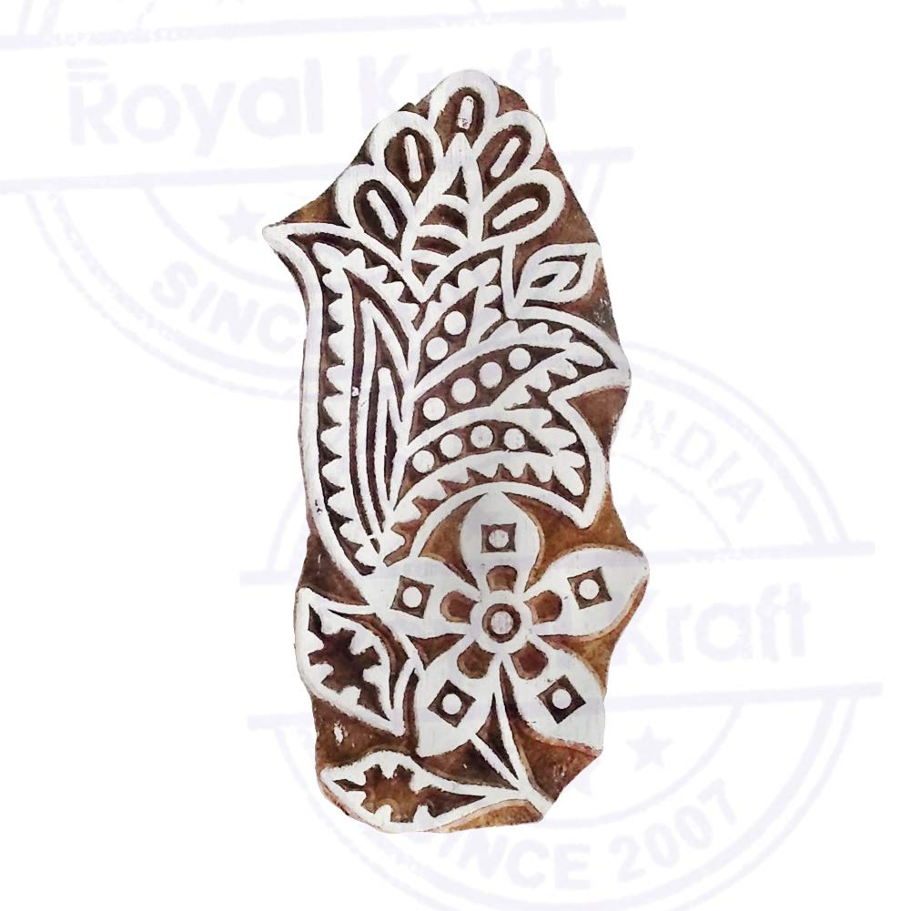Exquisite Urban Paisley Design Wood Stamp for Printing DIY Henna Fabric Textile Paper Clay Pottery Block Printing Stamp