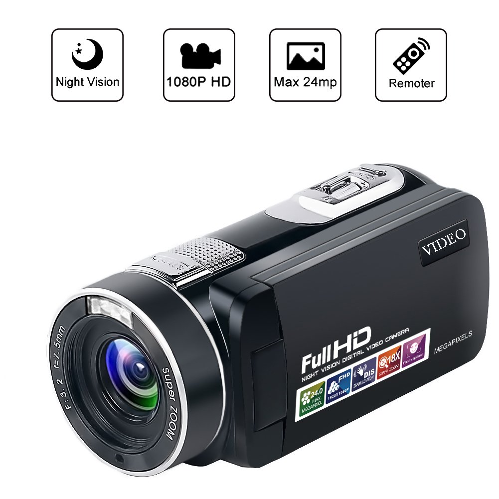 Camcorder Video Camera Night Vision Pause Function Full HD Camcorders 1080P 24.0MP Vlogging Camera with Remote Controller
