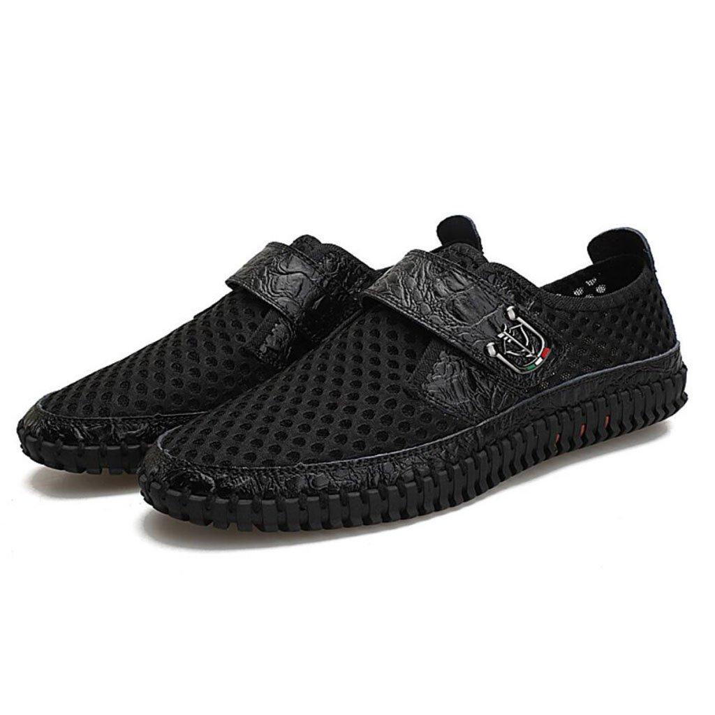 GAOLIXIA Sandalias de los hombres de Tulle Mesh Summer Comfort Sneakers Talón plano Hollow Casual Shoes Marrón Azul Negro de gran tamaño (Color : Negro, tamaño : 40) 40|Negro