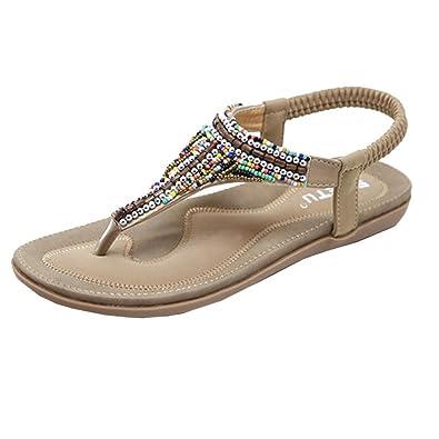 sandales femmes plat mode décontractée Peep-Toe boucle romaine été perles de plage qbuOfYL