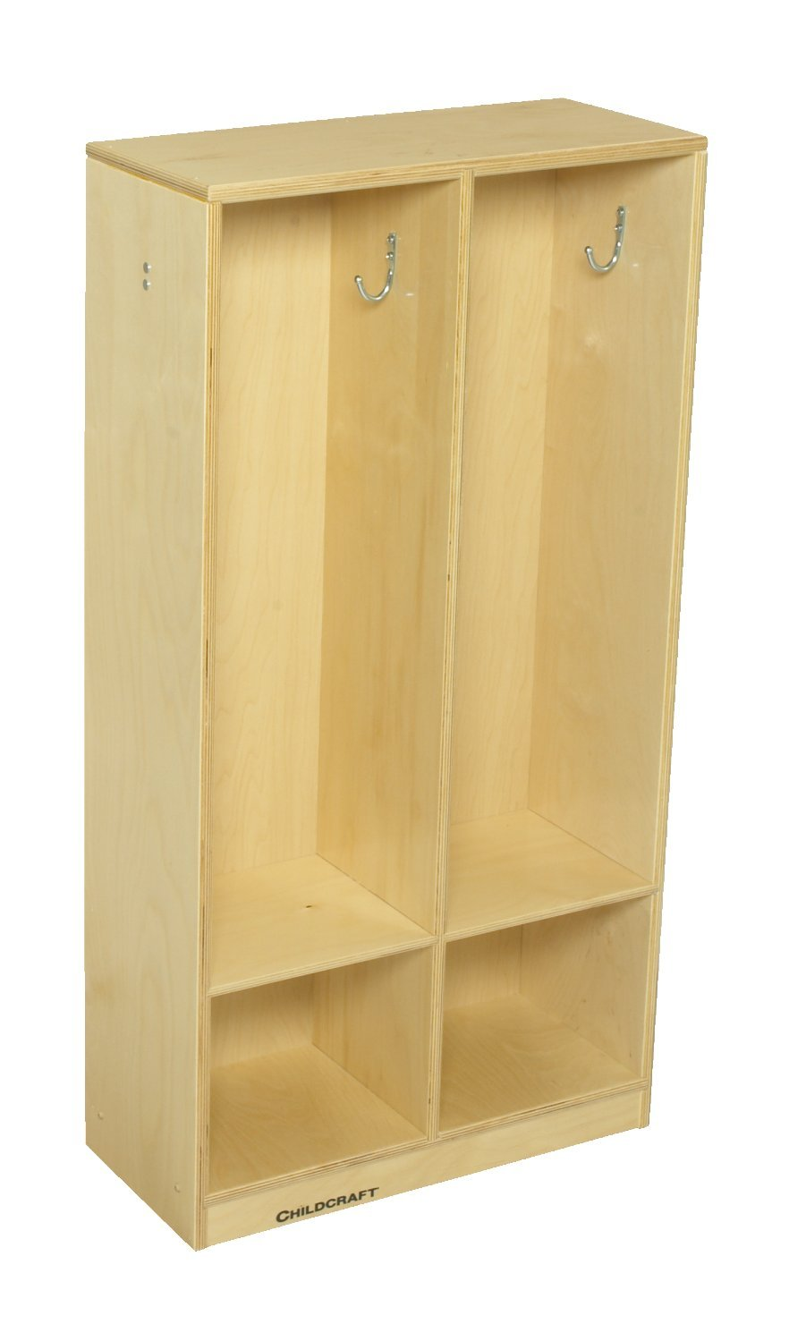 Childcraft 2985 2-Section Coat Locker, 42'' Height, 9.63'' Width, 21.88'' Length, Natural Wood
