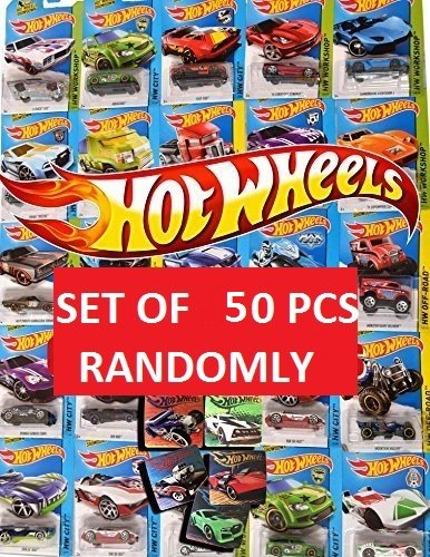 50 MEGA Party Pack Hot Wheels Random Cars & Stickers Fun Collectible Set Car 50-Pack Random Bundle assortment