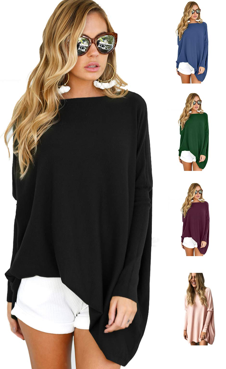 LIYOHON Women's Oversized T-Shirt Round Neck Long Sleeve Loose Casual Tunic Tops For Women Black-L