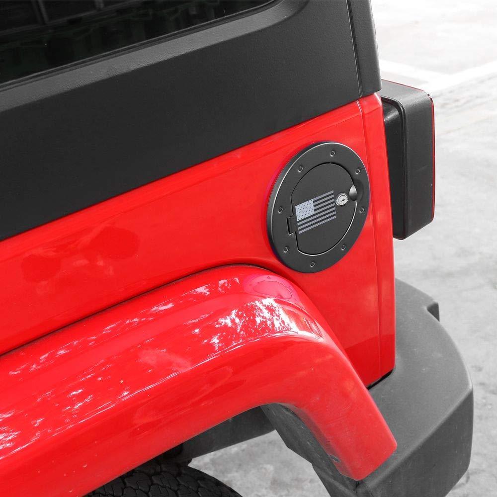 JeCar Gas Tank Door Locking Fuel Filler Door Cover for 2007-2018 Jeep Wrangler JK /& Unlimited Sport Sahara Rubicon
