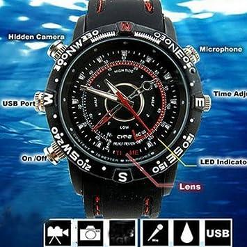 Flylinktech 8GB Impermeable Reloj Espía con Cámara Oculta Grabador de Vídeo Digital Mini DVR DV - Negro: Amazon.es: Bricolaje y herramientas
