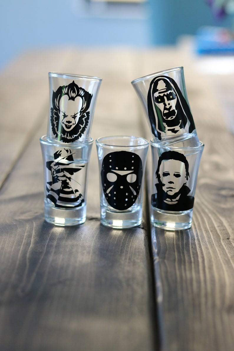 Halloween Party, Horror Shot Glasses Set, Freddy Kruger, Jason, Micheal Myers, Horror Lover, Horror Movie, gift for him, The Nun, Pennywise, Party Tableware, Cups by katty