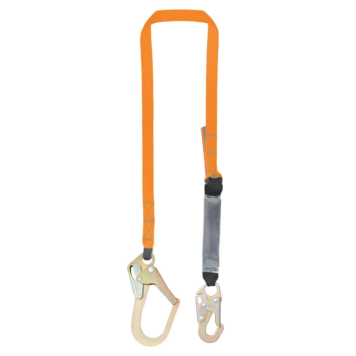 C5011-6' Single Leg External Shock Absorbing Lanyard with 1 Rebar Hook and 1 Steel Snap Hook, OSHA/ANSI Compliant by Malta Dynamics