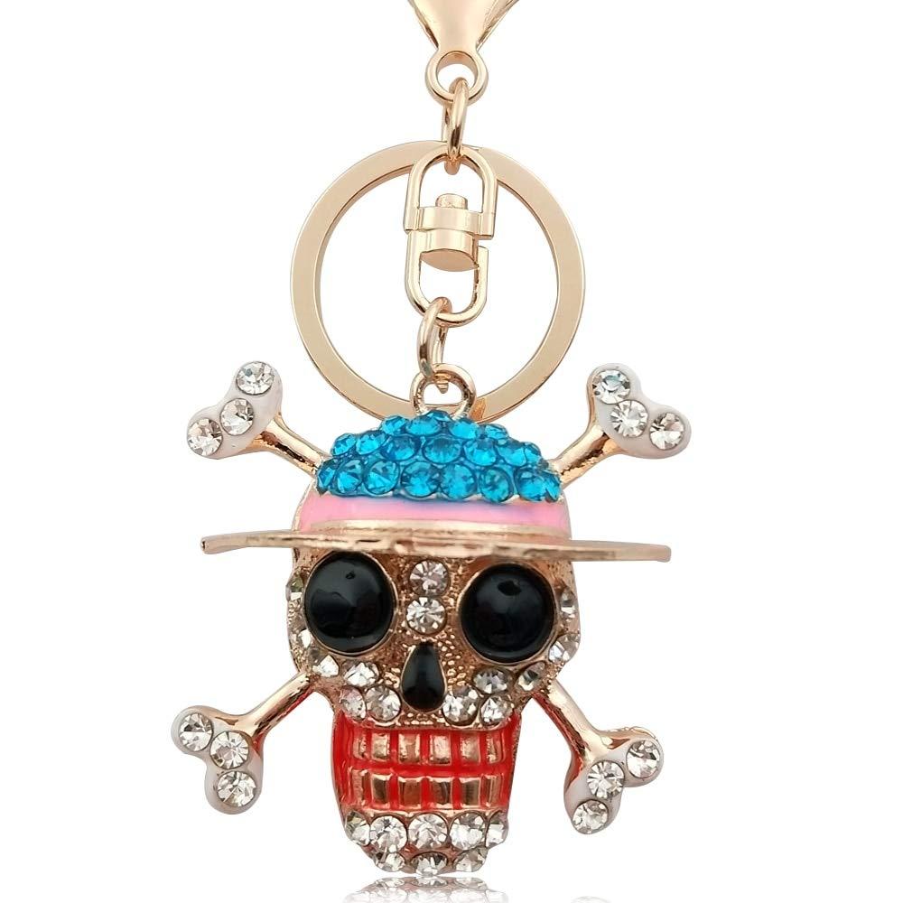 5 * 5cm Pirate Skull Llavero Crystal Rhinestone Cz Llavero ...